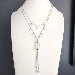 Double strand crystal & opalescent bead necklace